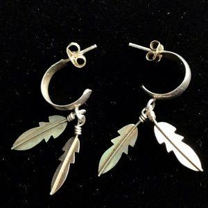 Vintage sterling silver Feather Hoop Earrings
